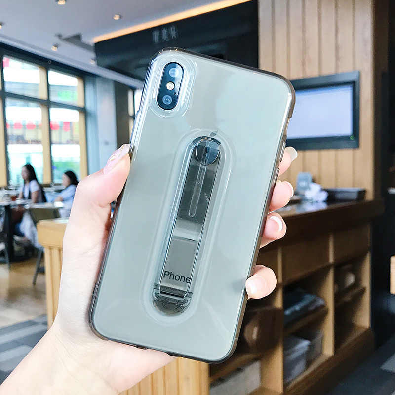 Luxury Clear soft Bracket ซิลิโคนกรณีสำหรับ iPhone 6 วินาที 6 วินาที 7 7 วินาที 8 Plus X XS XR XS สูงสุด 10 5 5 วินาที SE 5SE 6 6 วินาที 7 8 Plus โทรศัพท์มือถือกรณี