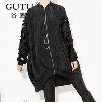 GUTU Korean 2018 Spring New Coat White Black Sequined Collar Long Sleeved Loose Large Size