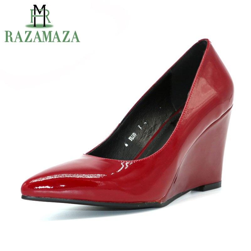 Su Zeppe Donna Razamaza Scarpe Pompe Alto Punta Formato 3439 Donne rosso Sexy Poco Tacco Nero Scivolare Da Delle A Vera Profonda Il Pelle xrdthQsC