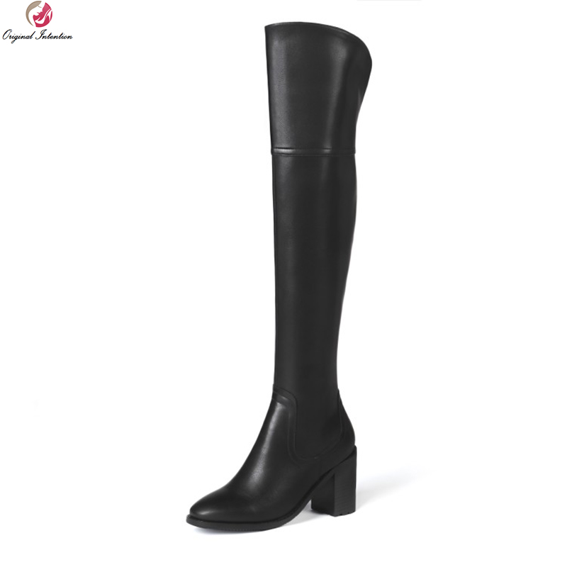 Original Intention New Sexy Women Over-the-Knee Boots Quality Thigh High Square Boots Nice Black Shoes Woman Plus US Size 3-12Original Intention New Sexy Women Over-the-Knee Boots Quality Thigh High Square Boots Nice Black Shoes Woman Plus US Size 3-12