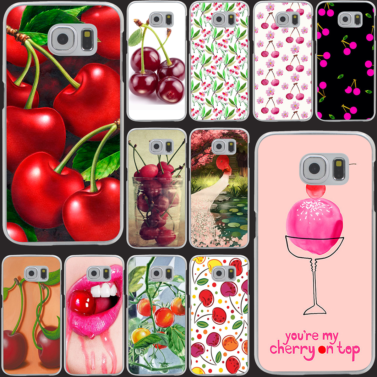 Green cherry fruit of food  cherry Transparent Hard Case Cover for Smasung Galaxy S5 Mini A3 A5 A7 A8 Note 2 3 4 5