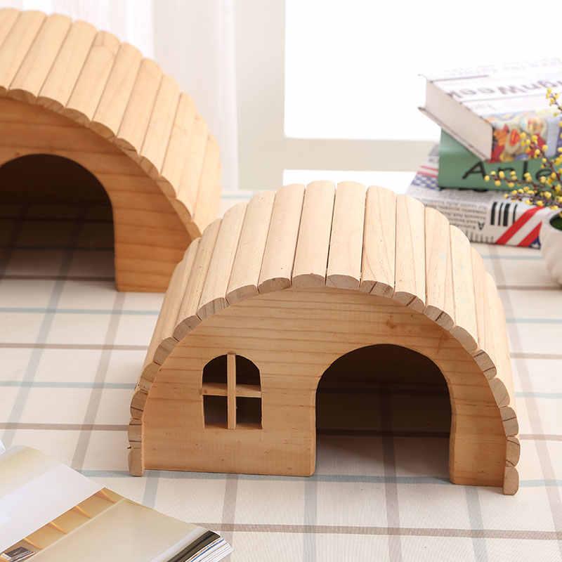 Animais de estimação hamster casa de madeira esquilo suprimentos para casa totoro ninho gerbil chalet ratos hideout rato gaiola acessórios