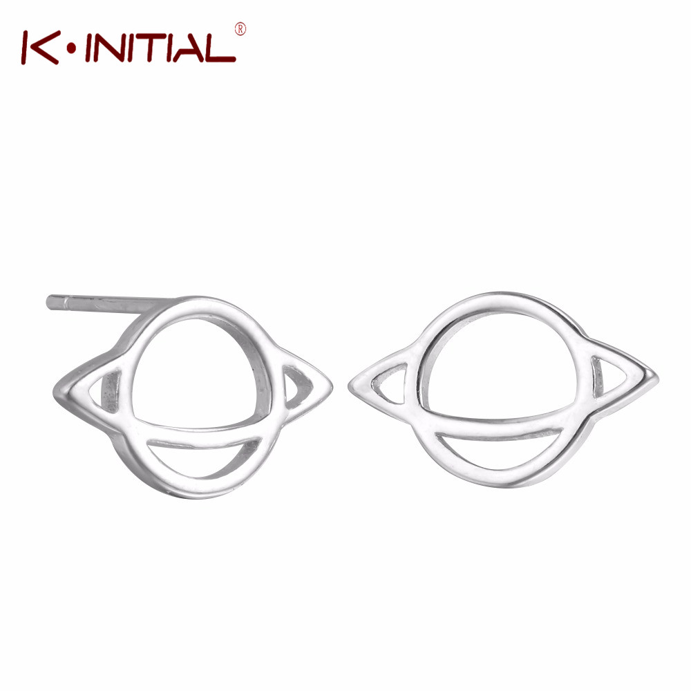 Kinitial New Silver Plated Saturn Stud Earrings For Women
