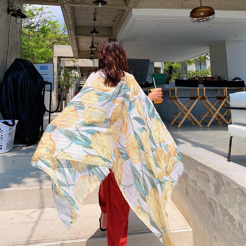 1 Piece Fashion Elegant Flower Tulips Pattern 180x90cm Women Sunscreen Cotton Linen Beach Scarf Silk bandana beach Shawl wraps in Women 39 s Scarves from Apparel Accessories
