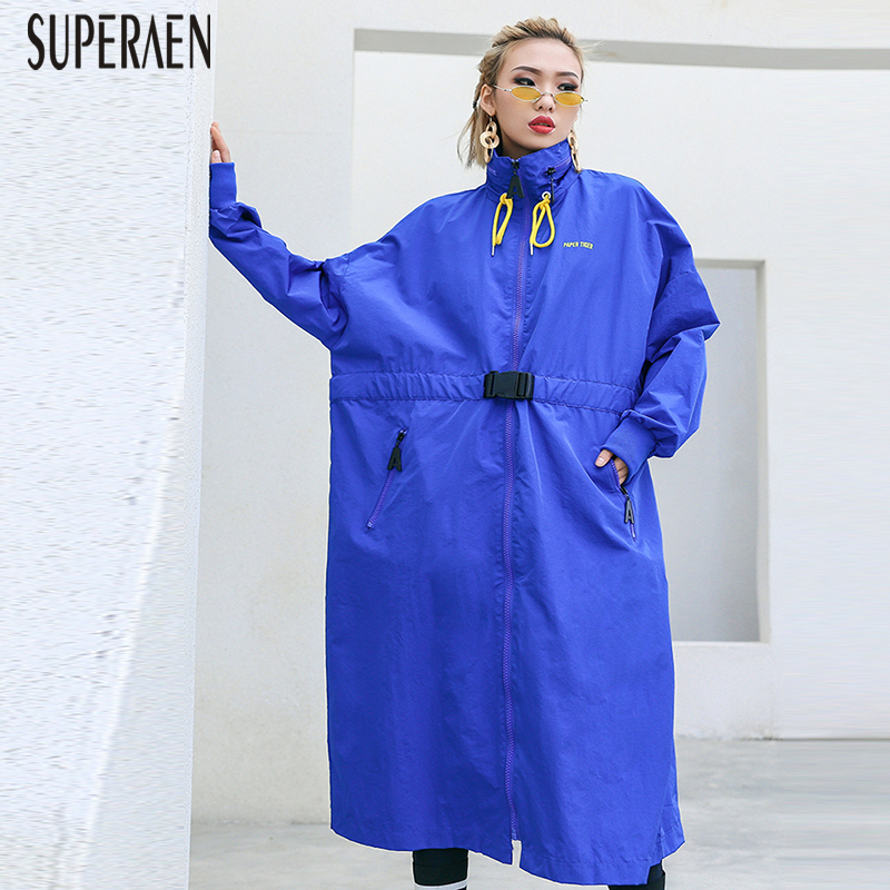 SuperAen Fashion Windbreaker Female Pluz Size Zipper Loose 2019 Spring and Autumn New Drawstring Long Sleeve   Trench   Cpat