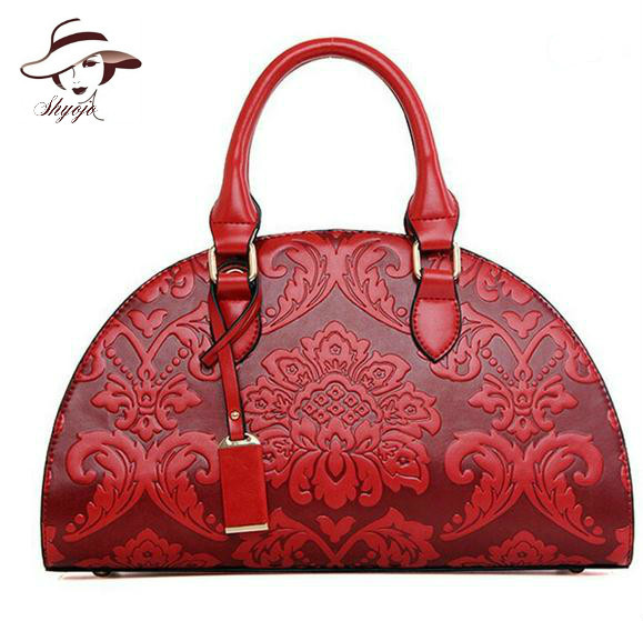 2018 New Flower Embossed Chinese Style Vintage Fashion Women Shell Messenge Bag Female Leather Women Handbag Ladies Shoulder Bag