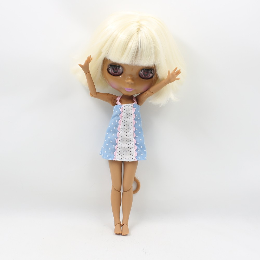 Neo Blythe Doll with Blonde Hair, Dark Skin, Shiny Face & Jointed Body 5