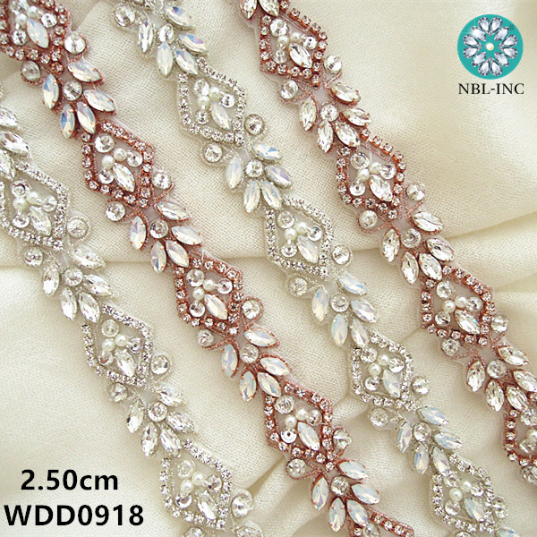 (10 yards) Wholesale bridal beaded sewing silver rose gold crystal  rhinestone applique trim iron 640466042e61