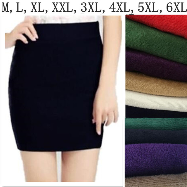 2017 Autumn Winter high waist  warm thickening skirts,women sexy skirt Office Formal Pencil Skirts,plus size M-5XL 6XL