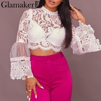 Glamaker Lace Women Blouse Shirt Transparent Mesh Fringe Tassel Crop Top Tees Sexy Summer Trumpset Sleeve
