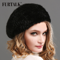 FURTALK Winter Fur Beret for Women Warm Natural Mink Fur Bobble Hat Girls Soft beanie Hat for Female 2019 Black Red Color