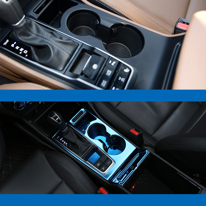 NO LOGO Stainless Steel Car Accessories Styling Fit For Ford Ranger 2016 2017 Car Gear Shift Knob Frame Panel Cover Trim