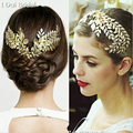 Baroque Tiara Vintage Gold Leaf Hair Accessories Bridal Headpieces Graduation Prom Party Girls Headwear  Hair Jewelry
