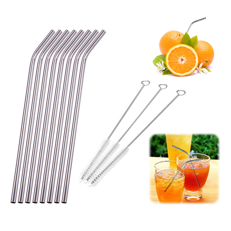 Colorful Stainless Steel Straw Drinking Reusable Metal Straw with Brush DIY Tea Coffee Party Bar Accessories Metal Straws Соломинка