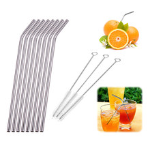 Colorful Stainless Steel Straw Drinking Reusable Metal Straw with Brush DIY Tea Coffee Party Bar Accessories Metal Straws(China)