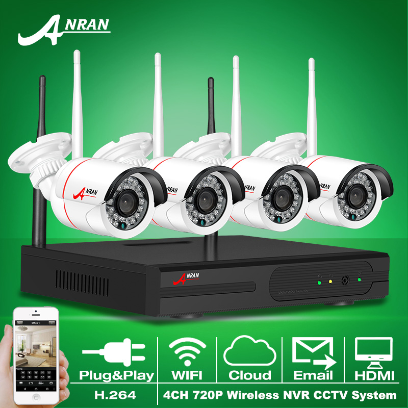 2016 New Plug And Play 4CH Wireless NVR Kit P2P 720P HD Outdoor IR IP Video