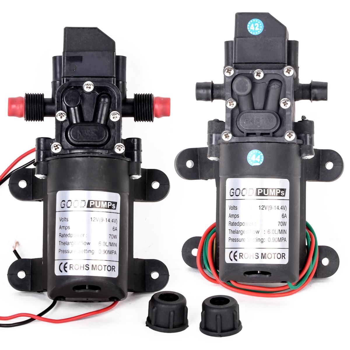New Mini Diaphragm Water Pump DC12V 70W 130PSI 6L/Min Water High Pressure Diaphragm Self Priming Pump For Electric Car Washing цена 2017