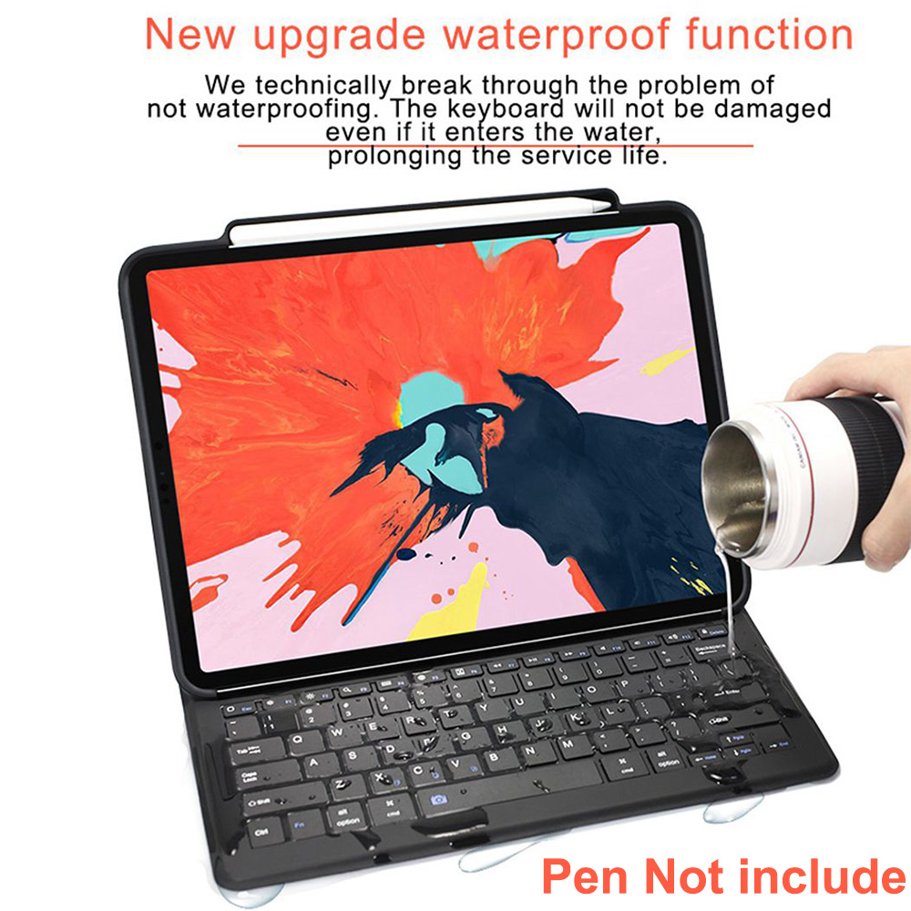 Funda de teclado Bluetooth para iPad Pro 12.9 / 11 2018 Auto Sleep / Wake Smart PU Funda protectora de cuero para Apple iPad 2018 Ligero Ultra delgado Folio Soporte Funda inalámbrica Bluetooth Pen Slot Shell - 2