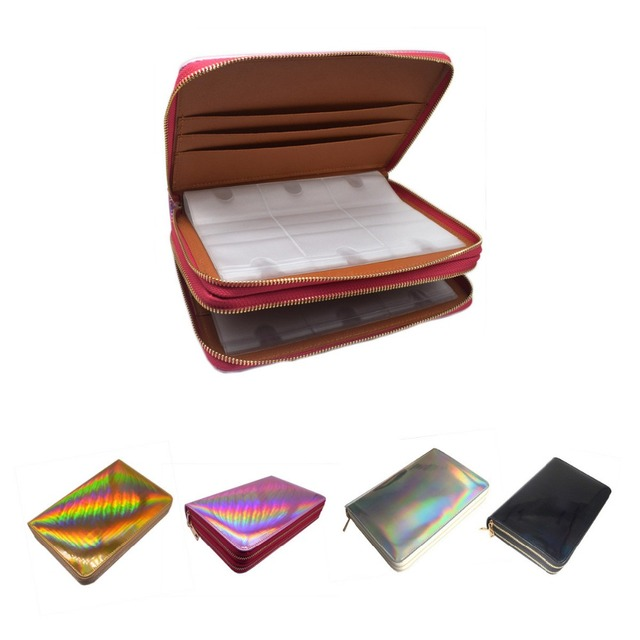 96 Slots Nail Stamping Plate Holder Case Rainbow Laser Style Rectangular Manicure Nail Art Plate Organizer with Double Zippers