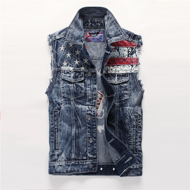 Men's Denim Metrosexual Washed Jeans Vest Denim Vest Korean Style Star Single Breasted Foreign Trade