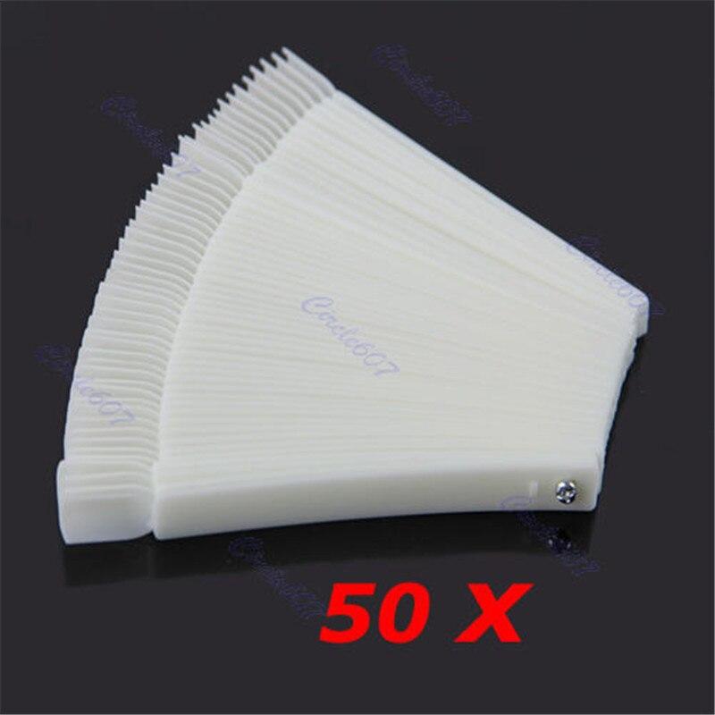 Venda quente 50 Pçs/lote Ferramentas Unhas Branco Transparente Falso Nail Art Tips Varas Exibição Polonês Fan Prática Ferramenta de Bordo