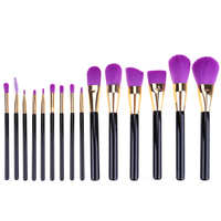 15pcs Purple Head Makeup Brushes Set Professional Foundation Blending Cosmetics Wood Hand Make Up Brushes