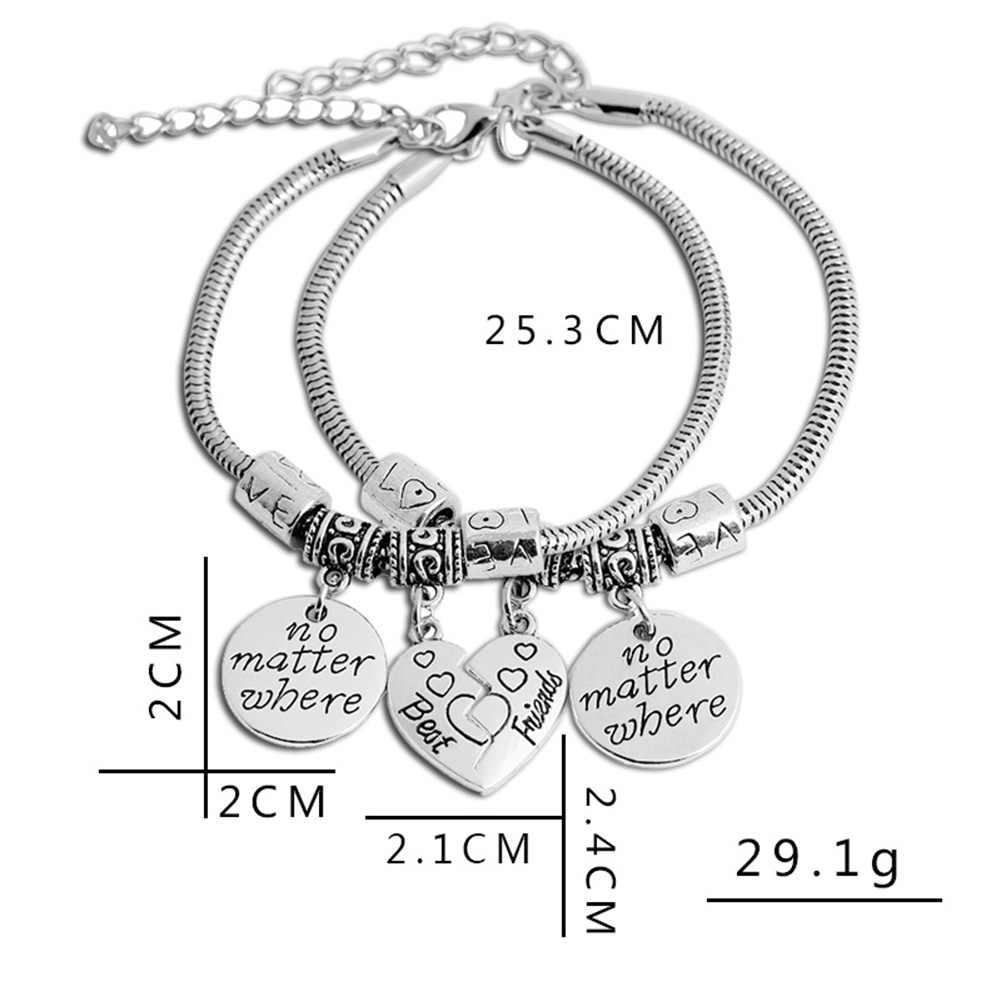 ebc5f333360ea New Fashion 2pcs Charm Best Friends Bracelets Half Broken Heart Friendship  Bracelets For Girls