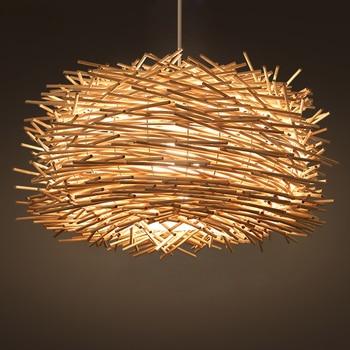 Nordic Personally Art Creative Country Rattan Bird Nest Pendant Light Coffee Dinning Room Modern Home Decor Lighting Fixutre