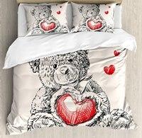 Doodle постельное белье подробные Мишка рисования с сердцем вместо живота мини плавающей сердца Постельное белье красные, черные