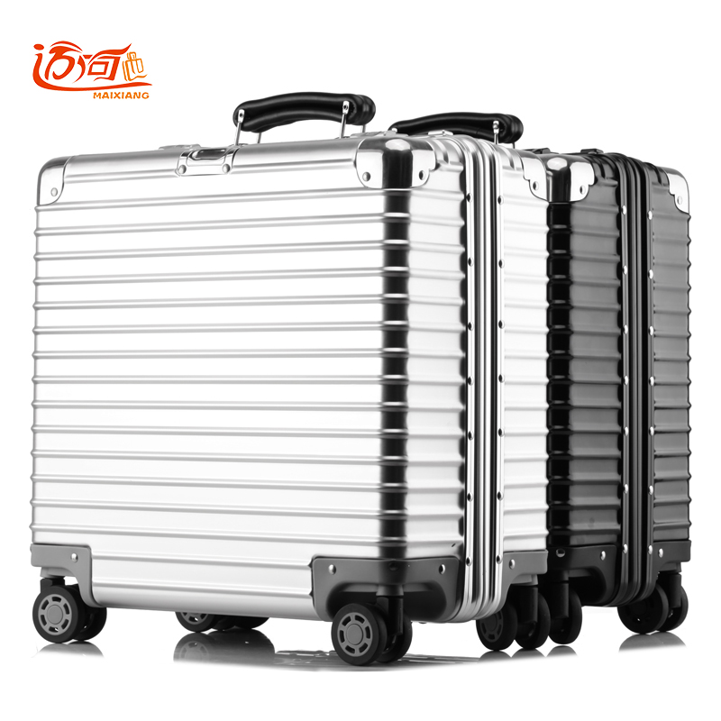 цена на 100% metal aluminum magnesium alloy maleta valise cabine busy board vintage suitcase luggage 16inch 18 inch retro spinner travel