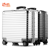 100% metal aluminum magnesium alloy maleta valise cabine busy board vintage suitcase luggage 16inch 18 inch retro spinner travel