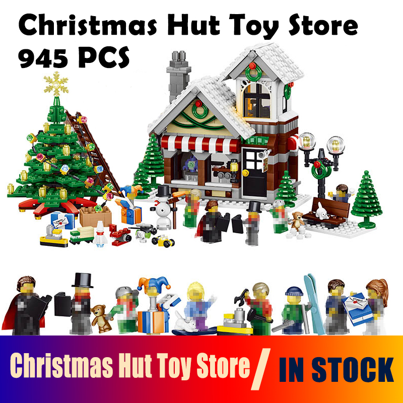 Model Building Blocks 36002 945pcs My World Winter Christmas Hut Toy Store Compatible with Lego House Building Blocks For kids jp 945 pcs snow christmas hut house model kits figures building bricks blocks kids fun toys for children compatible 10249