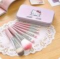 7 unids/set Hello Kitty Gato Lindo Maquillaje Pinceles Set Pinceaux Kit Rosa Makup Cepillos Cosméticos Pincel de Maquillaje Con la Caja de Metal regalo