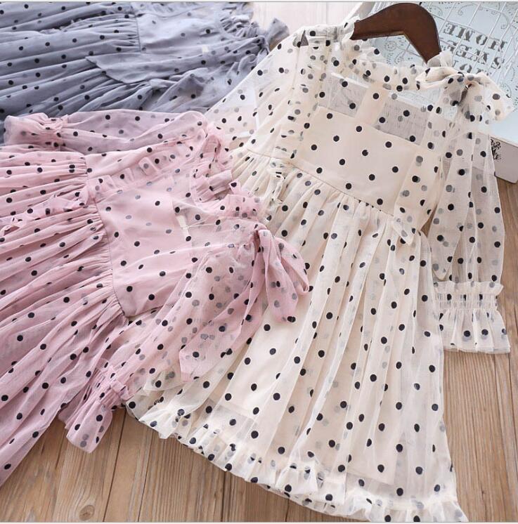 2019 Spring Children Girls Fashion Dot Bow Mesh Long Sleeve Dresses Princess Elegant Dress 5 pcs