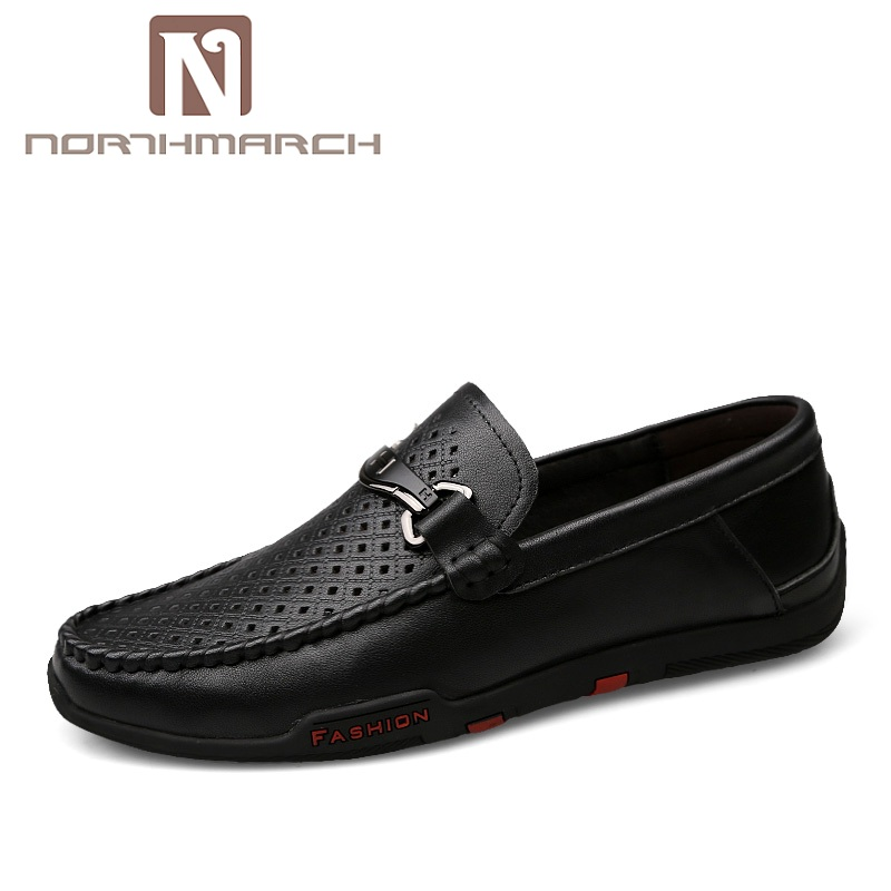 NORTHMARCH Men Casual Shoes Lace-Up Genuine Leather Men Shoes Big Size Mens Loafers Leather Moccasins Mens Sapatillas Hombre big size men work casual shoes fashion mens loafers luxury genuine leather lace up flat father driving shoes lmx b0024