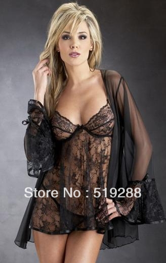 1d85c04fd21 Fashion Hot Sale Black Woman Lady Sex transparent Sleep Dress Silk  Underwear Lace Night Dress Lingeries Dress+Track No.