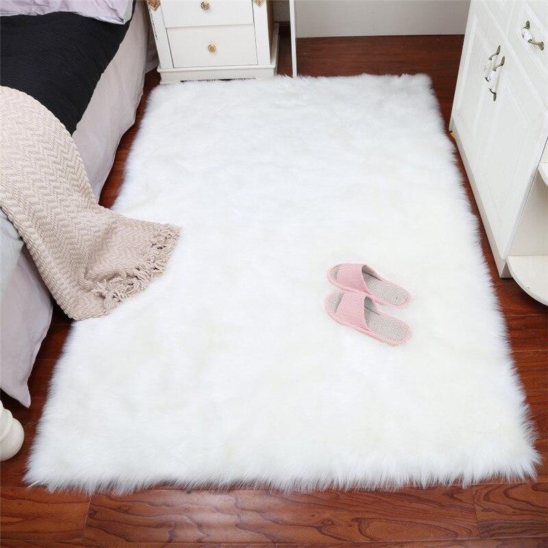 Fashion Long Faux Fur Artificial Skin Rectangle Fluffy Chair Seat Sofa Cover Carpet Mat  ...