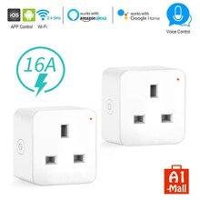 Enchufe inteligente WiFi para el Reino Unido, toma de Control inalámbrica, 16A, Control de energía, temporizador, interruptor, Control por voz, funciona con Alexa y Google