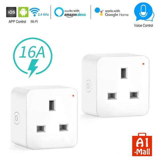 مقبس ذكي WiFi ، منفذ المملكة المتحدة ، تحكم لاسلكي ، طاقة 16 أمبير ، مراقبة الطاقة ، مؤقت ، مفتاح ، تحكم صوتي ، يعمل مع Alexa و Google