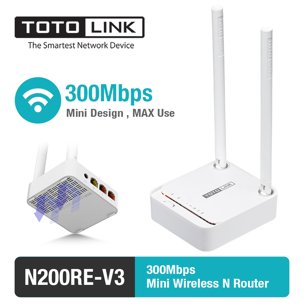 TOTOLINK N200RE 300Mbps WiFi Router Integrated with Wireless Repeater and AP in One, 2 Antennas, English Firmware