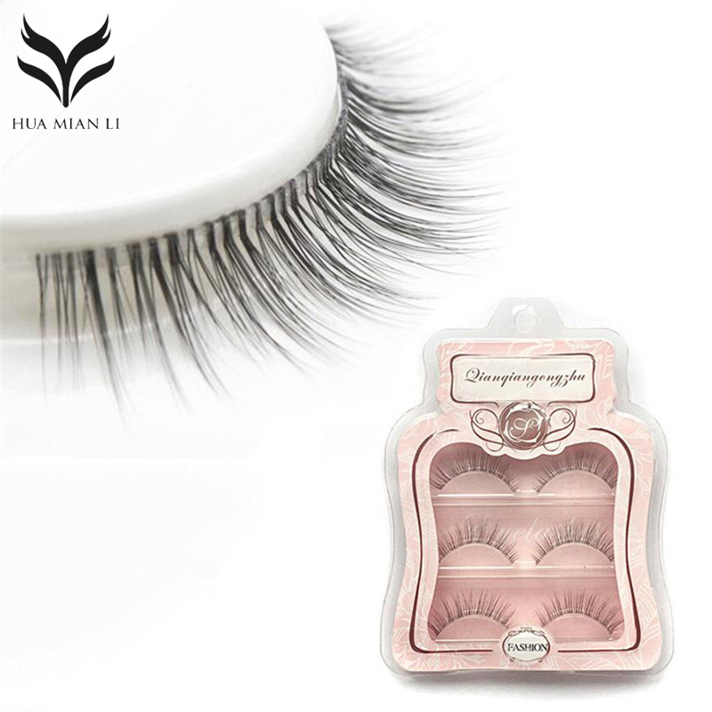 False Eyelashes 3 Pairs Pure Handmade Natural Transparent Terrier Fake Eyelashes Short Paragraph Bare Makeup Eyelashes Faux Cils