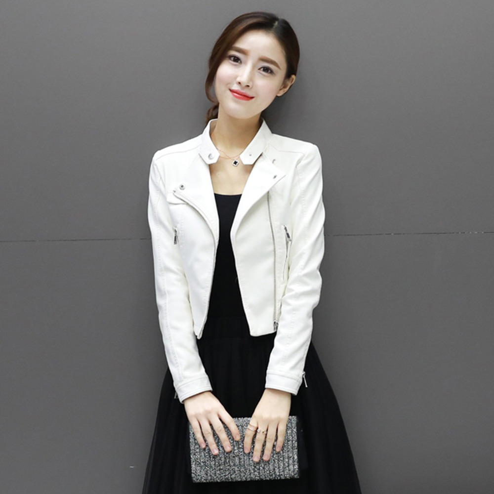 New pink white   leather   female student short section Slim spring and autumn   leather   jacket pu locomotive small jacket JQ65
