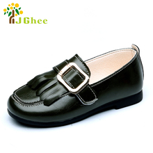 J Ghee Spring Summer Boys Girls Shoes Kids Sandals Children's Loafers Big Buckle PU Leather With Tassels Size 26-30 For Boy Girl
