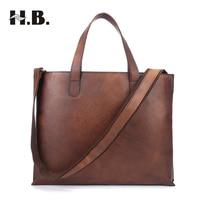 HIBO Handbags Retro Shoulder Bag Men Briefcase Business Genuine Leather Casual Messenger Bag Men Crossbody Bags Computer Totes