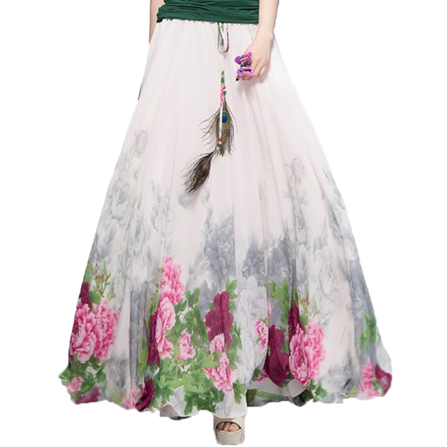 2019 Chiffon Bohemian Skirts Womens Summer Party Harajuku Print Vintage Fashion Flower Ethnic Boho Long Maxi Skirt Beach Clothes
