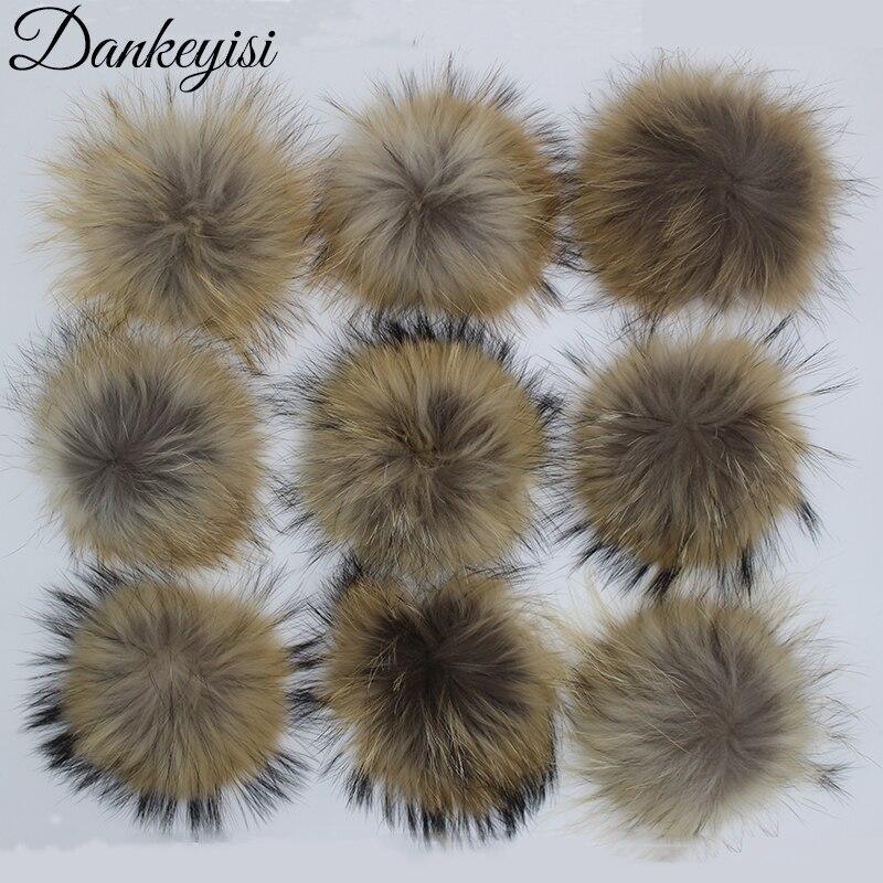 DANKEYISI Wholesale Fur Pompoms 13 17cm DIY Raccoon and Fox Fur Pom Poms 20pcs lot Natural