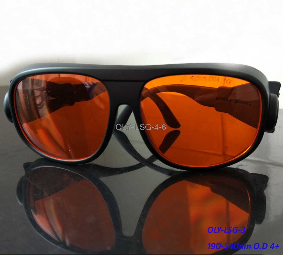 O.d 6 Laser Safety Glasses For Green Blue And Violet Lasers 190-540nm O.D 6+ CE Certified