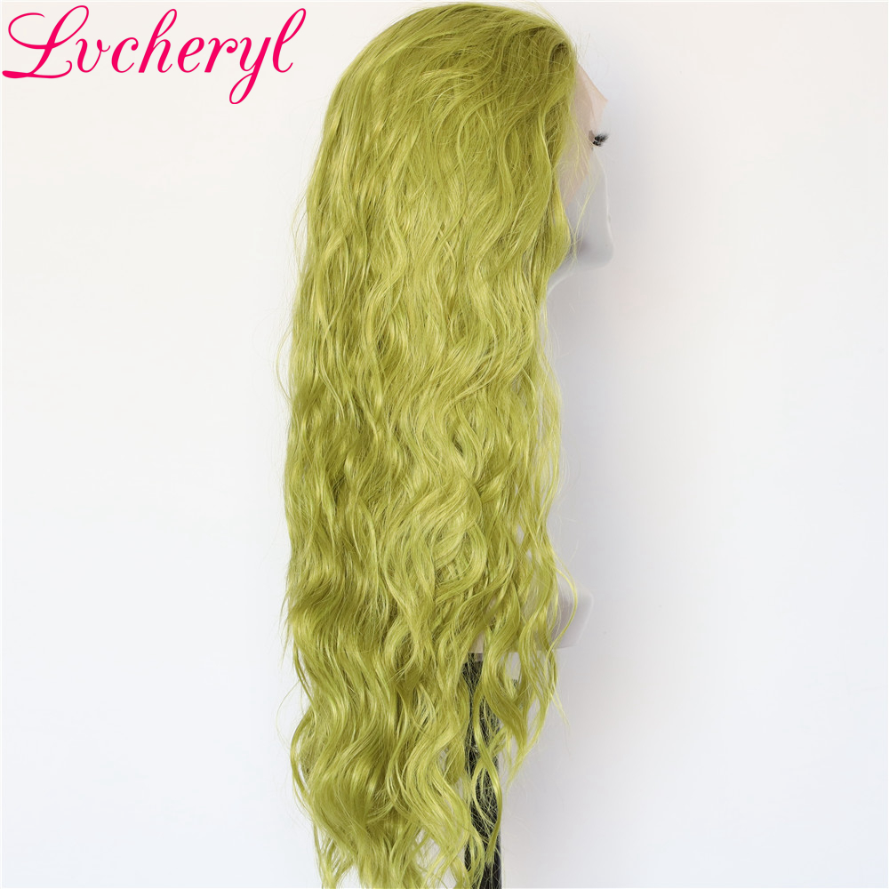 Image 2 - Lvcheryl Hand Tied New Green Color Full Density Water Wave Hair wigs Heat Resistant Hair Wigs Synthetic Lace Front Wigs-in Synthetic None-Lace  Wigs from Hair Extensions & Wigs
