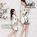 Мать и Дети Шелковый Китайский Cheongsam Qipao Платье Девушки Родитель Ребенок Костюмы Мама и Дочь Семьи Соответствующие Наряды
