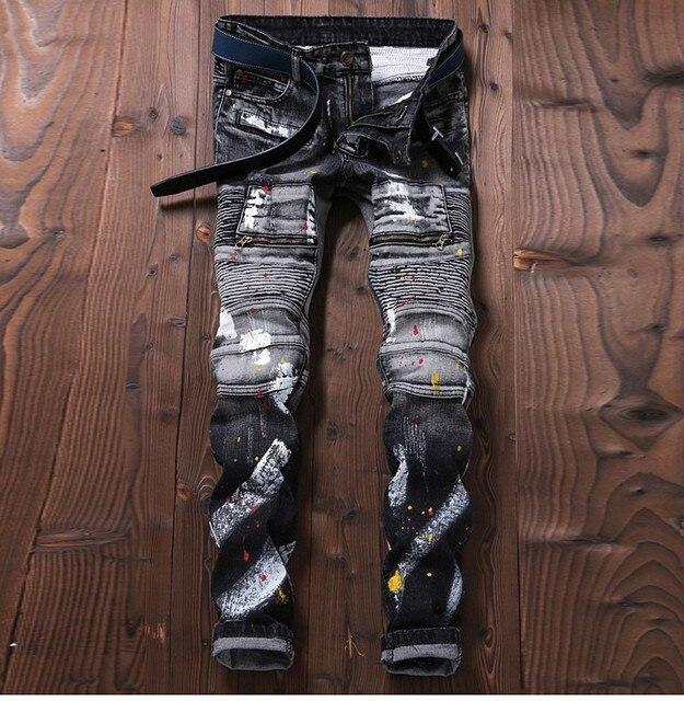 987538f122cc0 slim TR Hombre de Tinta jeans joggers diseñador fit flaco denim  motociclista de Para carga pantalones pEYq4qcd